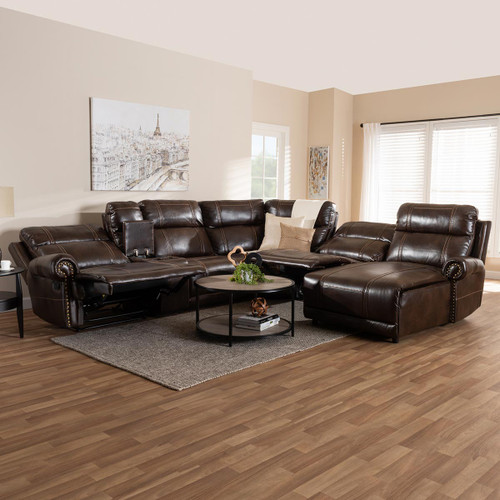 Baxton Studio Dacio Modern and Contemporary Brown Faux Leather Upholstered 6-Piece Sectional Recliner Sofa with 2 Reclining Seats