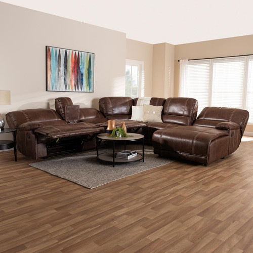 Baxton Studio Salomo Modern and Contemporary Brown Faux Leather Upholstered 6-Piece Sectional Recliner Sofa with 3 Reclining Seats