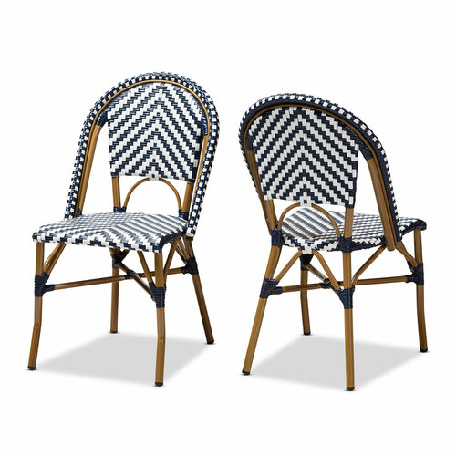 Baxton Studio Celie Classic French Indoor and Outdoor Grey and White Bamboo Style Bistro Dining Chair- Set of 2
