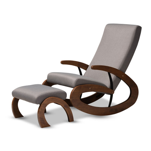 Baxton Studio Kaira Modern and Contemporary 2-Piece Gray Fabric Upholstered and Walnut-Finished Wood Rocking Chair and Ottoman Set