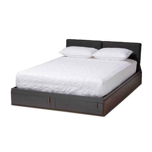 Baxton Studio Rikke Modern and Contemporary Two-Tone Gray and Walnut Finished Wood Queen Size Platform Storage Bed with Gray Fabric Upholstered Headboard
