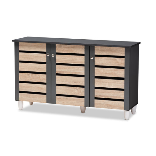 Baxton Studio Gisela Modern and Contemporary Two-Tone Oak and Dark Gray 3-Door Shoe Storage Cabinet