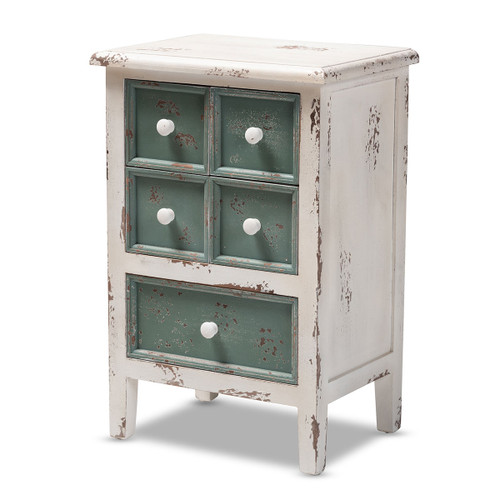 Baxton Studio Angeline Antique French Country Cottage Distressed White and Teal Finished Wood 5-Drawer Storage Cabinet