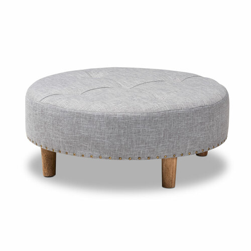 Baxton Studio Vinet Modern and Contemporary Light Gray Fabric Upholstered Natural Wood Cocktail Ottoman