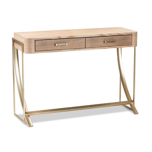 Baxton Studio Lafoy Modern and Contemporary Natural Brown Finished Wood and Gold Finished 2-Drawer Console Table