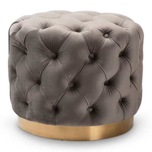 Baxton Studio Valeria Glam Gray Velvet Fabric Upholstered Gold-Finished Button Tufted Ottoman
