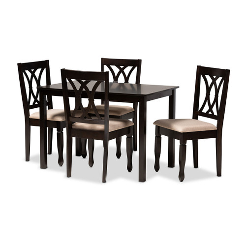 Baxton Studio Reneau Modern and Contemporary Sand Fabric Upholstered Espresso Brown Finished Wood 5-Piece Dining Set