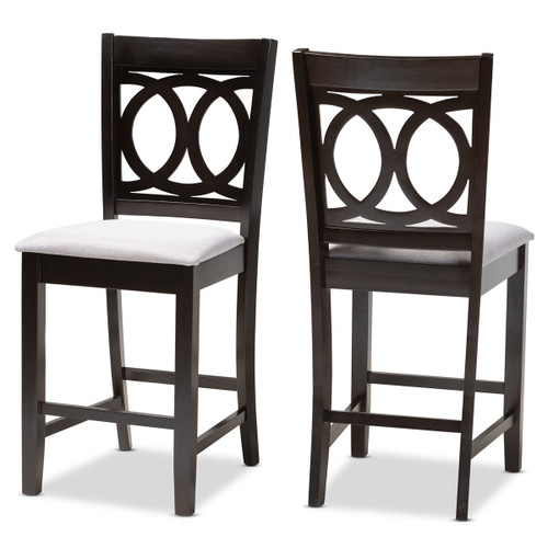 Baxton Studio Lenoir Modern and Contemporary Gray Fabric Upholstered Espresso Brown Finished Wood Counter Height Pub Chair Set of 2