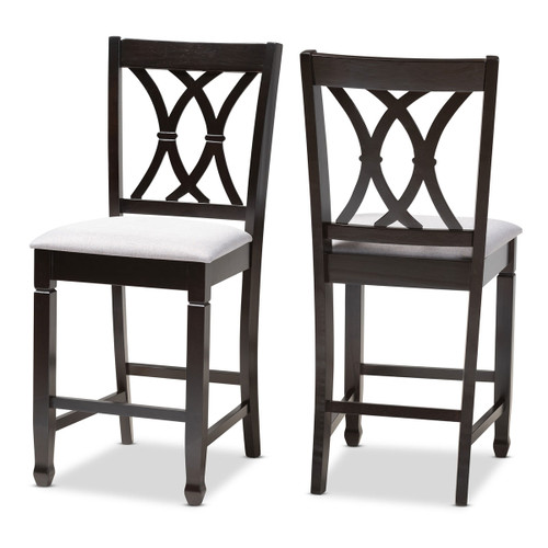 Baxton Studio Reneau Modern and Contemporary Gray Fabric Upholstered Espresso Brown Finished Wood Counter Height Pub Chair Set of 2