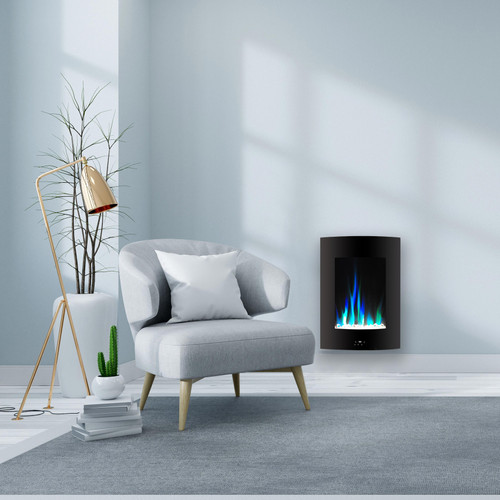 Cambridge 19.5 In. Vertical Electric Fireplace in Black with Multi-Color Flame and Crystal Display