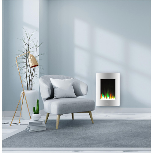 Cambridge 19.5 In. Vertical Electric Fireplace in White with Multi-Color Flame and Crystal Display