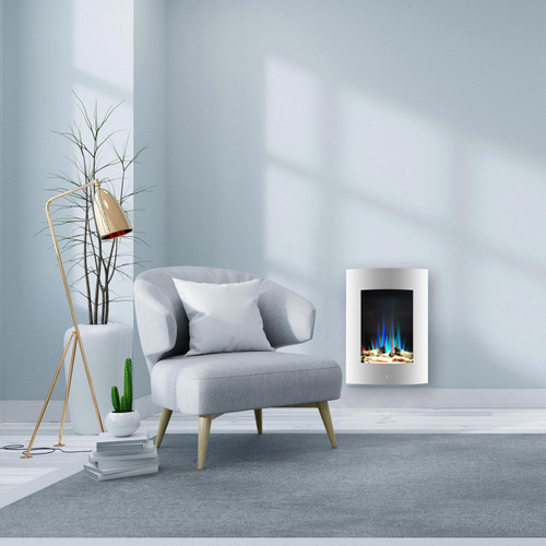 Cambridge 19.5 In. Vertical Electric Fireplace in White with Multi-Color Flame and Driftwood Log Display