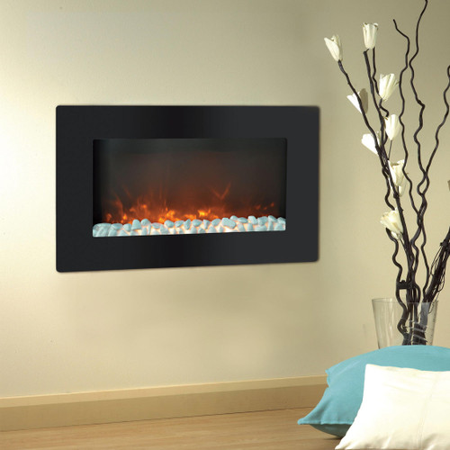 Cambridge Callisto 30 In. Wall-Mount Electric Fireplace with Flat Panel and Crystal Rocks