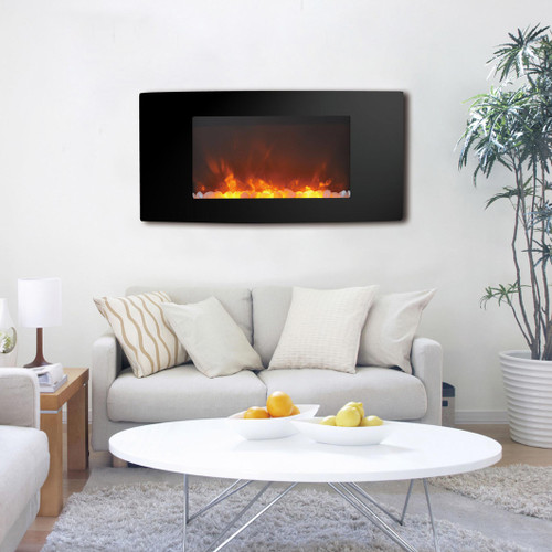 Cambridge Callisto 35 In. Wall-Mount Electric Fireplace with Curved Panel and Crystal Rocks