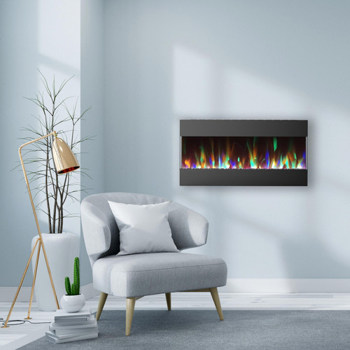 Cambridge 42 In. Recessed Wall Mounted Electric Fireplace with Crystal and LED Color Changing Display, Black