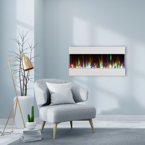 Cambridge 42 In. Recessed Wall Mounted Electric Fireplace with Crystal and LED Color Changing Display, White