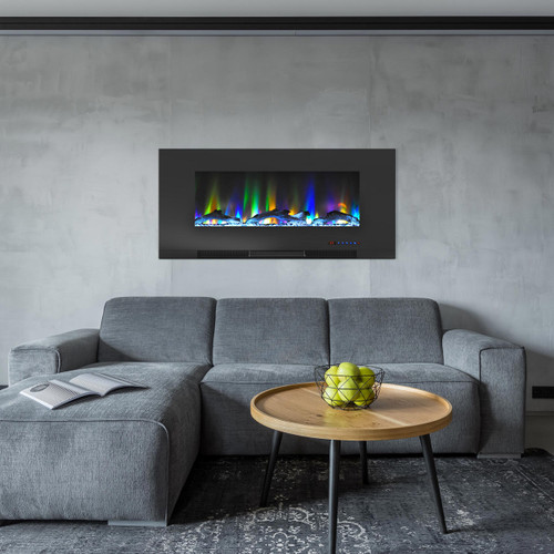 Cambridge 42 In. Wall-Mount Electric Fireplace in Black with Multi-Color Flames and Driftwood Log Display