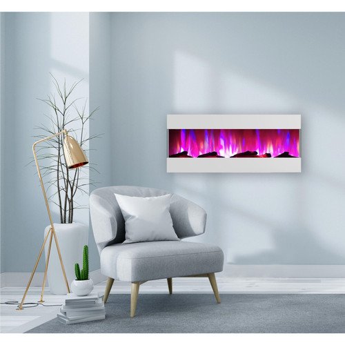Cambridge 50 In. Recessed Wall Mounted Electric Fireplace with Logs and LED Color Changing Display, White