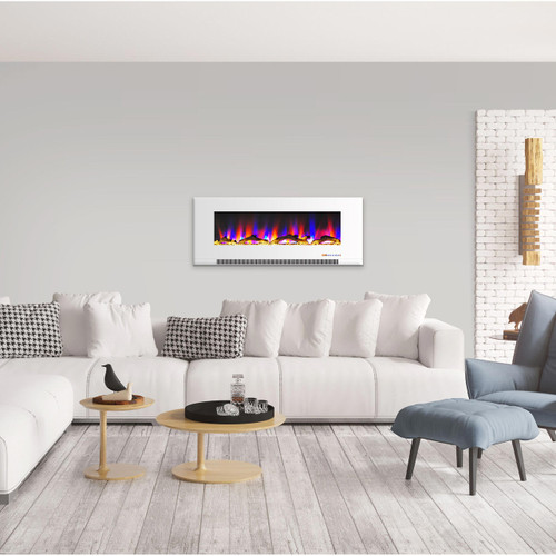 Cambridge 50 In. Wall-Mount Electric Fireplace in White with Multi-Color Flames and Driftwood Log Display