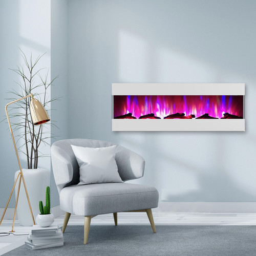Cambridge 60 In. Recessed Wall Mounted Electric Fireplace with Logs and LED Color Changing Display, White