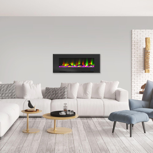 Cambridge 60 In. Wall-Mount Electric Fireplace in Black with Multi-Color Flames and Driftwood Log Display