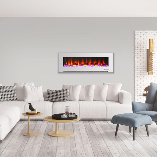 Cambridge 60 In. Wall-Mount Electric Fireplace in White with Multi-Color Flames and Driftwood Log Display