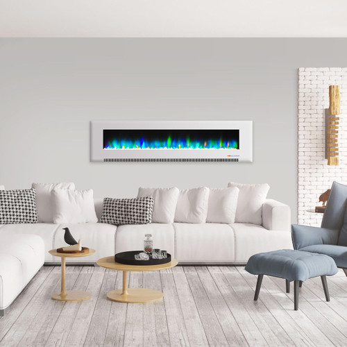 """78"""" Color Changing Wall Mount Fireplace with Crystals - White"""