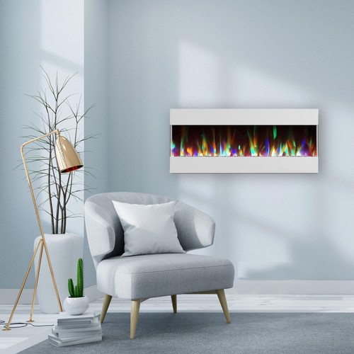 Cambridge 50 In. Recessed Wall Mounted Electric Fireplace with Crystal and LED Color Changing Display, White