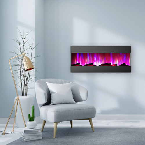 Cambridge 50 In. Recessed Wall Mounted Electric Fireplace with Logs and LED Color Changing Display, Black