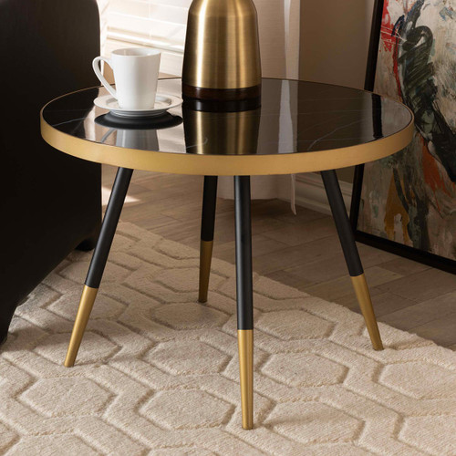 Baxton Studio Lauro Modern and Contemporary Round Glossy Marble and Metal Coffee Table with Two-Tone Black and Gold Legs