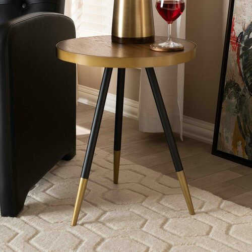 Baxton Studio Lauro Modern and Contemporary Round Walnut Wood and Metal End Table with Two-Tone Black and Gold Legs