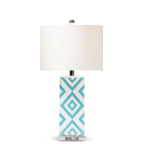 Baxton Studio Rowen Modern and Contemporary Turquoise and White Diamond Patterned Ceramic Table Lamp