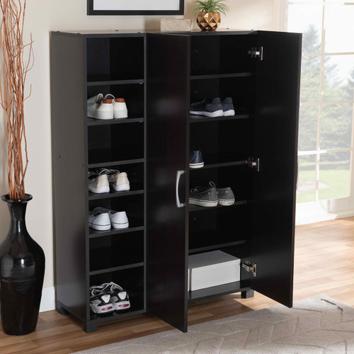 Baxton Studio Marine Modern and Contemporary Wenge Dark Brown Finished 2-Door Wood Entryway Shoe Storage Cabinet with Open Shelves