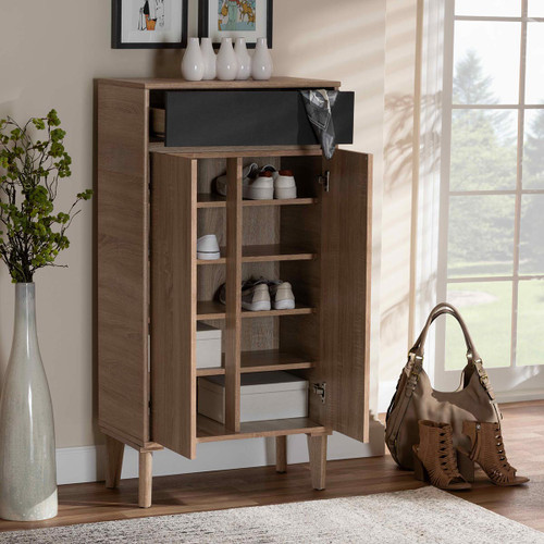Baxton Studio Fella Mid-Century Modern Two-Tone Oak Brown and Dark Gray Entryway Shoe Cabinet with Drawer