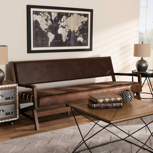 Baxton Studio Rovelyn Rustic Brown Faux Leather Upholstered Walnut Finished Wood Sofa