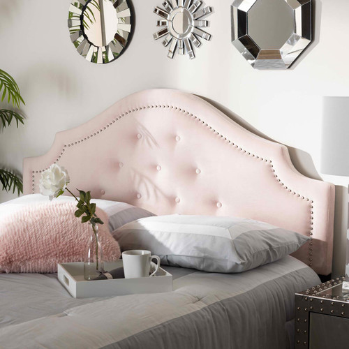 Baxton Studio Cora Modern and Contemporary Light Pink Velvet Fabric Upholstered Queen Size Headboard