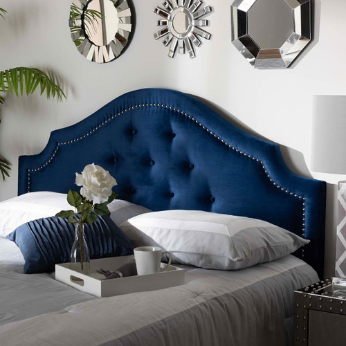 Baxton Studio Cora Modern and Contemporary Royal Blue Velvet Fabric Upholstered Queen Size Headboard