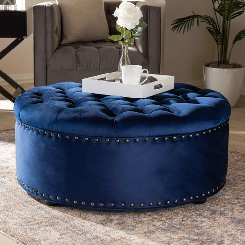 Baxton Studio Iglehart Modern and Contemporary Royal Blue Velvet Fabric Upholstered Tufted Cocktail Ottoman