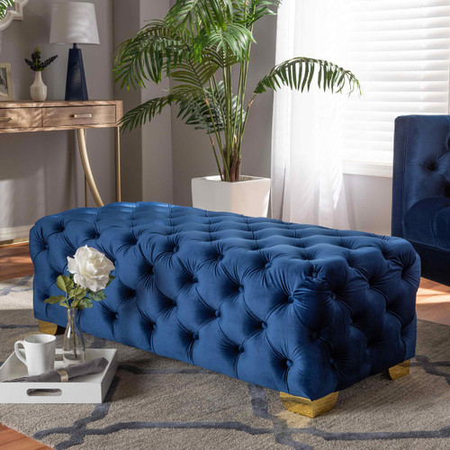 Baxton Studio Avara Glam and Luxe Royal Blue Velvet Fabric Upholstered Gold Finished Button Tufted Bench Ottoman
