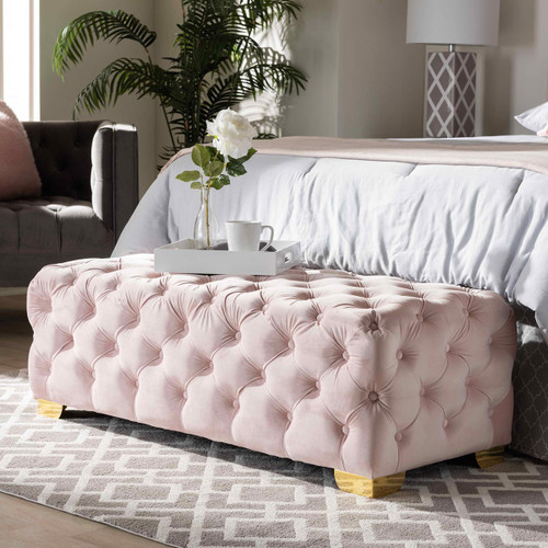 Baxton Studio Avara Glam and Luxe Light Pink Velvet Fabric Upholstered Gold Finished Button Tufted Bench Ottoman