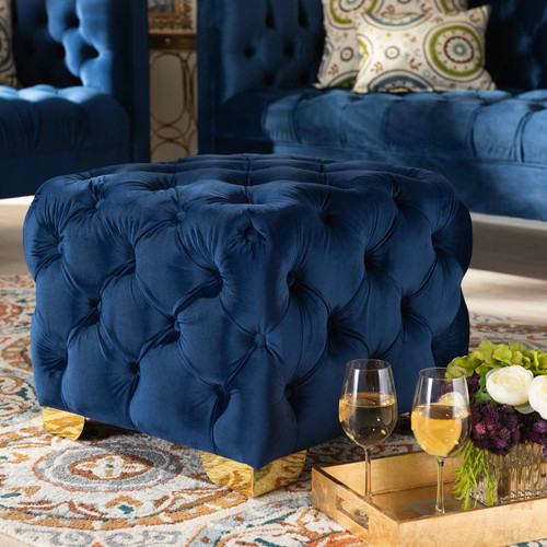 Baxton Studio Avara Glam and Luxe Royal Blue Velvet Fabric Upholstered Gold Finished Button Tufted Ottoman