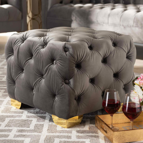 Baxton Studio Avara Glam and Luxe Gray Velvet Fabric Upholstered Gold Finished Button Tufted Ottoman