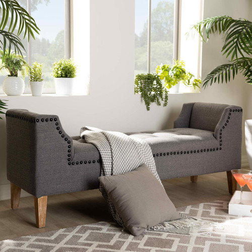 Baxton Studio Perret Modern and Contemporary Gray Linen Fabric Upholstered Oak Brown Finished Wood Bench