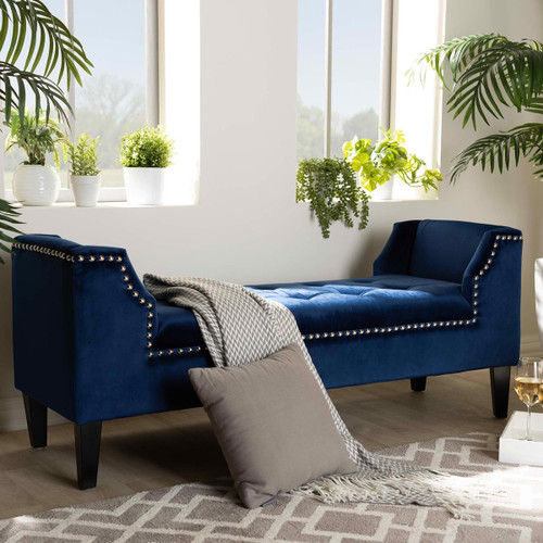 Baxton Studio Perret Modern and Contemporary Royal Blue Velvet Fabric Upholstered Espresso Finished Wood Bench