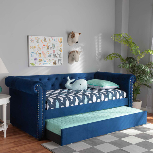 Baxton Studio Mabelle Modern and Contemporary Navy Blue Velvet Upholstered Daybed with Trundle