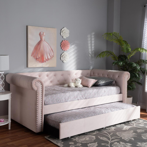 Baxton Studio Mabelle Modern and Contemporary Light Pink Velvet Upholstered Daybed with Trundle