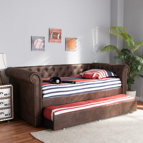 Baxton Studio Mabelle Modern and Contemporary Brown Faux Leather Upholstered Daybed with Trundle