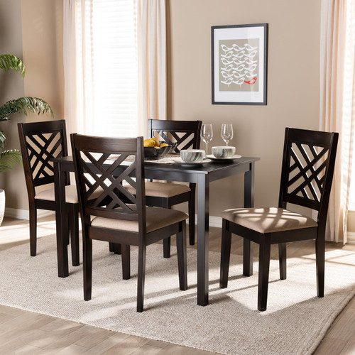 Baxton Studio Caron Modern and Contemporary Sand Fabric Upholstered Espresso Brown Finished Wood 5-Piece Dining Set