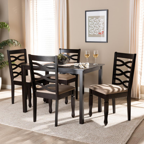 Baxton Studio Lanier Modern and Contemporary Sand Fabric Upholstered Espresso Brown Finished Wood 5-Piece Dining Set