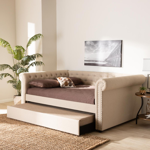 Baxton Studio Mabelle Modern and Contemporary Beige Fabric Upholstered Full Size Daybed with Trundle